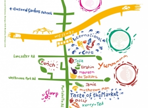Portobello Children's Scavenger Hunt Map used interactively with rubber stamps