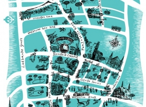 Promotional tea towel design. Commissioned by Ceramica Blue.Portobello Map.