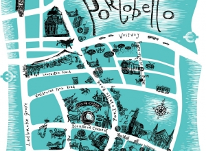 Promotional tea towel design. Commissioned by Ceramica Blue. Portobello Map. Available at Ceramica Blue , Blenheim Crescent, W11
