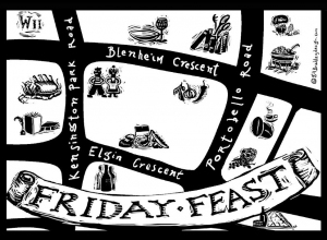 Promotional Card design for Friday Feast Campaign for Ceramica Blue