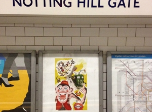 """""""Winner of Serco Prize for Illustration 2014 - London Stories """"Monkey band at large in Notting Hill 1927'  London Undergound"""